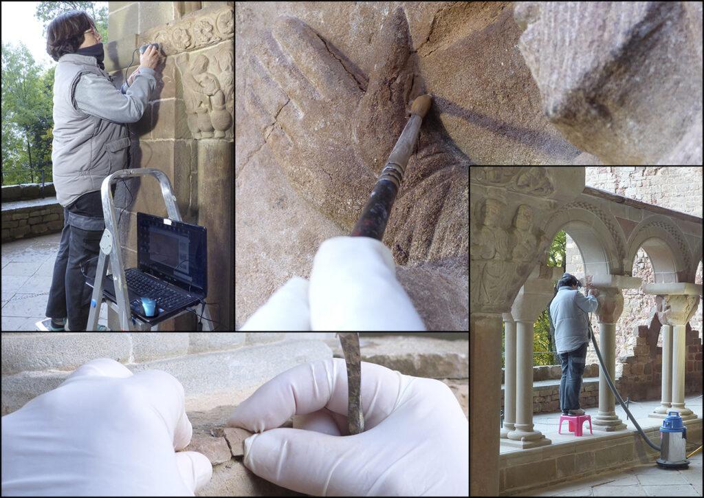 Trabajos realizados en el claustro del antiguo monasterio de San Juan de la Peña.